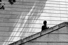 Looking down (pascalcolin1) Tags: paris13 homme man mur wall escalier staircase soleil sun photoderue streetview urbanarte noiretblanc blackandwhite photopascalcolin 50mm canon50mm canon