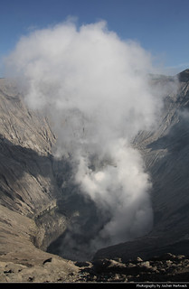 Looking down into the caldera of Gunung Bromo, Bromo-Tengger-Semeru NP, Java, Indonesia