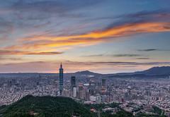 Taipei sunset (王韋証) Tags: taiwan taipei taipei101 sunset sky building light landscape d800 day 台灣 台北 夕陽 日落 101 台北101 象山 拇指山 觀音山 淡水河 台北盆地