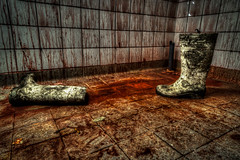 These Boots are made for... (Jan Fenkhuber Photography) Tags: urbex cliniquedudiable france alsace urban hdr photography clinic sanatorium hotel abandoned decay exploration building indoorsalsacebloodbootscliniquedudiableclothcolordirtdirtyeuropefrancepaintredshoestosswihrwhite