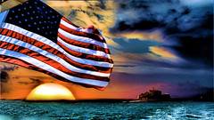 USA Flag & Alcatraz (d39rober) Tags: usa flag sea lanscape land planets sky scenery