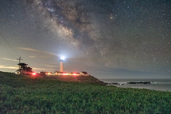 Coastal Night (Matt McLean) Tags: astrophotography bayarea california coast galaxy lighthouse longexposure milkyway night nightexposure nightsky pigeonpoint stars iceplant beacon
