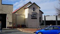 Old movie theatre and blue car (spelio) Tags: hall nsw walk blue colour color corrugated iron metal tin roof panels cinema theatre