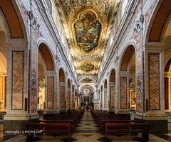The Cathedral In Sorrento (Holfo) Tags: italy sorrento cathedral church romancatholic nikon d7500 marble seats aisle wall ceiling architecture painting room arches towering majestic rich soaring religious beautiful columns arch pews art patterns altar bella magnificent catholic religion massive