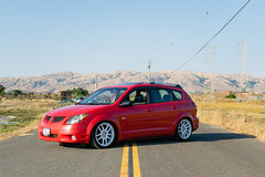 DSC_0779 (jaytotheveezy) Tags: pontiac vibe base lava red 1zz work crkai kiwami ultimate bcracing coilovers toyo tires genvibe