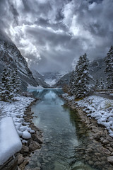 Cool Louise (Philip Kuntz) Tags: lakelouise glacialwaters snow storm lakelouiseoutlet banff banffnationalpark alberta canada