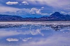 Bonneville Salt Flats, state of Utah, USA (Photographer South Florida) Tags: greatsaltlake thegreatsaltlake geology lake water saltwater utah usa america scenic mountains clouds nature vacation lakebonneville americasdeadsea salt bonnevillesaltflats desert
