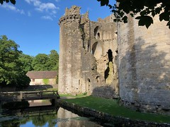 Nunney Castle near Frome in Somerset (baldychops) Tags: moated medieval england village quiet peaceful serene beautiful idyllic phone iphone architecture building water bridge moat outdoor evening summer historic history ruin old nunneycastle castle somerset nunney