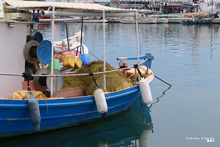 Volos fishing port..., on a calmness summer day.