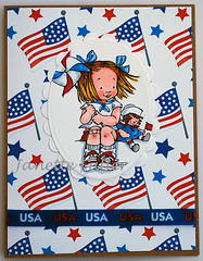 Waiting for the Parade Card (janettefuller) Tags: handmadegreetingcard handmade card handmadecards patriotic patrioticcard 4thofjuly pinwheel usa oldglory flag doll waitingfortheparade momanning copicsketchmarkers promarkers art crafts papercrafts cardmaking