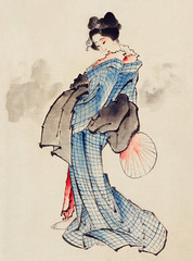Woman, Full-Length Portrait, Standing, Facing Left, Holding Fan in Right Hand, Wearing Kimono with Check Design by Katsushika Hokusai (1760-1849), a traditional Japanese Ukyio-e style illustration of a Japanese woman in kimono. Digitally enhanced from our (Free Public Domain Illustrations by rawpixel) Tags: antique arts artwork asia asian beautiful brush clothes clothing costume cultural culture decoration drawing dress eastern fan fashion female fineprints formal fulllength geisha gesture girl hokusai holding illustration image japan japanese japaneseart katsushika katsushikahokusai kimono lady locimage old paint paintings pattern portrait posture retro traditional vintage wash wearing woman woodblock woodcut