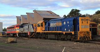 XR555 T369 and B65 in the SSR workshop yard in Bendigo