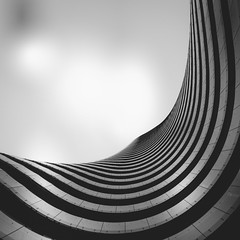 We Built Our Own World Part One by Simon Hadleigh-Sparks (Simon Hadleigh-Sparks) Tags: curve city urban london architecture abstract simonandhiscamera sky cloud lookingup building lines bw blackandwhite contrast distorted glass monochrome pattern rings skyline skyscraper tower vignette vertical vertigo