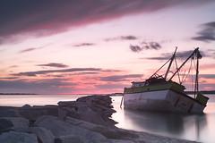 My Yot Shipwreck (Sean M Richardson) Tags: abandoned boat seascape landscape sunset longexposure lee serene shipwreck old historic canon 50mm ship ocean sea clouds sky decay details derelict texture exploring digital vibrant