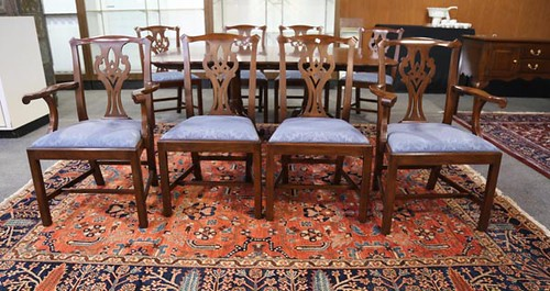 Henkel Harris 3-Leaf Table and 8 Chairs (grand total $2,576.00)