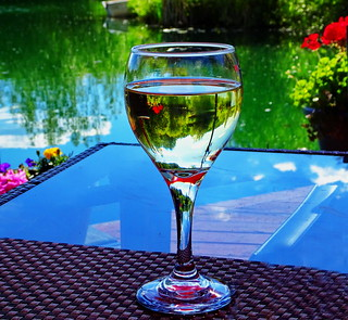 A wineglass full of springtime colours