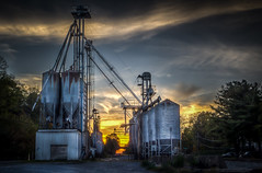 Storage Elevators at Sunset (donnieking1811) Tags: virginia abingdon storageelevators sunset outdoors trees railroad sky clouds hdr canon 60d lightroom photomatixpro