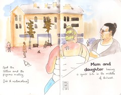 Bulwell market (blinkingidiot) Tags: bulwell market people sketching location drawing urban ink watercolour