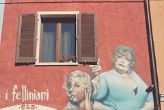 Felliniani (goodfella2459) Tags: nikon f4 af nikkor 50mm f14d lens adox color implosion 100 35mm c41 film analog colour federico fellini giulietta masina felliniani bedandbreakfast rimini italy mural street art nights cabiria amarcord manilovefilm