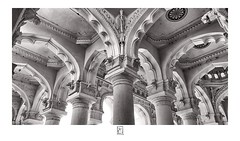 Nayakar Mahal Interior (krishartsphotography) Tags: krishnansrinivasan krishnan srinivasan krish arts photography fineart fine art monochrome pillars support design plasterofparis painting affinity photo nayakar mahal madurai tamilnadu india