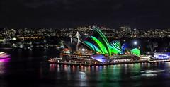 Vivid Sydney 2018 -  Light, Music & Ideas Festival (4) (geemuses) Tags: sydney vividsydney2018 light music ideasfestival sydneyoperahouse colour timelapsephotography sydneyharbourbridge sydneyharbour water extendedexposure projections nightphotography sky contrast