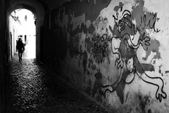 The chase has just begun (parenthesedemparenthese@yahoo.com) Tags: dem 2018 algarve alone bn mai man monochrome nb noiretblanc portugal silhouette street textures window blackandwhite bnw byn canon600d ef24mmf28 graffitti graffity grandcontraste highcontrast homme may mur pavement printemps seul spring streetart streetphotography tag wall