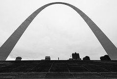 Within the Arch (thedailyjaw) Tags: stlouis missouri arch landmark architecture bw blackwhite d610 nikon tokina1628mm wideangle contrast negativespace minimalism silhouette steps stairway clouds