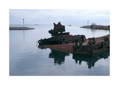 (giovdim) Tags: sea greece giovis decay water rust crane platform abandon muted