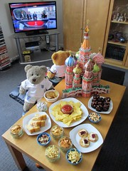 A modest birthday spread... (pefkosmad) Tags: tedricstudmuffin teddy ted bear nobbynomates nobby gingernutt ginger animal toy cute cuddlyfluffy plush soft stuffed worldcup russia worldcupfinal francevcroatia worldcup2018 moscow food party birthday nibbles snacks