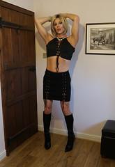 Black attack (Juliette Noir) Tags: trans lgbt cd tv transvestite crossdresser crossdressing boots heels black blonde suede