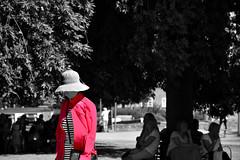 """In the Pink"" (42jph) Tags: mono bw black white color colour nikon d7200 candid street people stratforduponavon stratford upon avon uk england warwickshire"