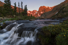 Isabelle Summer Sunrise (NickSouvall) Tags: morning light sunrise sun alpenglow red glowing warm color clear sky summer wild wildflowers flowers yellow grass flowing stream silky water lake isabelle long exposure indian peaks mountain range snow capped trees view wilderness colorado front landscape photography nature