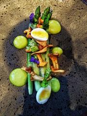 Stockdales restaurant, Leeds (tubblesnap) Tags: stockdales restaurant leeds asparagus chervil emulsion lardo quails egg edible flowers starter