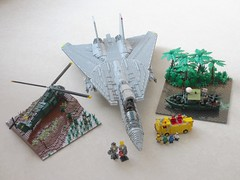 Getting ready for BrickFair (Mad physicist) Tags: lego tomcat vietnam pbr pibber seahorse