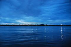 Blues - 02 (Sofeha) Tags: blue water river lake detroit windsor bordercity night reflection light downtown ripple sky clouds