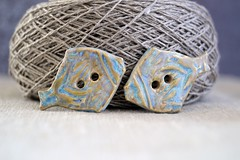pair of fish buttons (Cherryhill Studio) Tags: ceramic handcrafted buttons ceramicbuttons fish beach summer fishbuttons