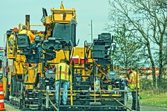Road Work (chumlee10) Tags: workers highway road construction machine black top wi wisconsin asphalt