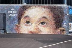 Papa, c'est quoi l'argent ? (HBA_JIJO) Tags: streetart urban graffiti paris art france hbajijo wall mur painting peinture portrait children spray pointillist urbain boy pboy