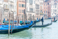 gondolieri getting ready (filipmije) Tags: venice gondola gondolieri canal canalegrande morning pastel