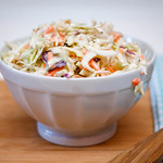 Coleslaw Close-Up in a white Bowl thumbnail