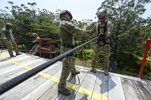 U.S. and Republic of Korea sailors rappel off a simulated building during a Rim of the Pacific (RIMPAC) exercise.