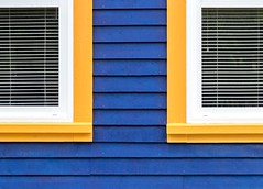 Seeing Double (Karen_Chappell) Tags: two window windows blue white yellow orange trim paint painted wood wooden house home nfld newfoundland city urban downtown clapboard lines shapes geometry geometric abstract architecture building colourful multicoloured blinds line 2 symmetry symmetrical siding canada atlanticcanada avalonpeninsula eastcoast stjohns colours colour color
