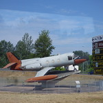 Plane on a roundabout heading into Lucca - Piaggio PD.808 thumbnail
