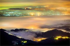 調色盤 (蕭世榮) Tags: 南投縣 大崙山 茶園 銀杏森林 雲海 霧 夜景 fog landscape night
