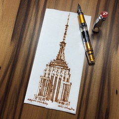 Empire State - NYC (napkin) (schunky_monkey) Tags: penandink ink pen fountainpen drawing draw sketching napkinsketch illustration art icon urban tallbuilidng architecture artdeco skyscraper newyork newyorkcity empirestatebuilding