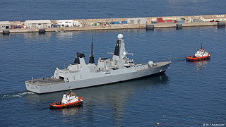 Royal Navy Type 45 Destroyer HMS Duncan (D37) departing HM Naval Base, Gibraltar