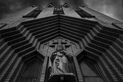 Church Entrance. Windsor, ON. (Paul Thibodeau) Tags: photooftheday windsor nikond500 church stpeters blackandwhite architecture entrance