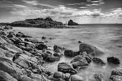 Rocky coast mono (Marion McM) Tags: coast coastline rocks sea firth channel marker clouds sky water landscape elie fife scotland
