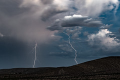 Double Trouble (James Marvin Phelps) Tags: mojavedesert nevada bluediamond weather lightingstrike monsoonweather lighting thunderstorm clouds photography jamesmarvinphelps jamesmarvinphelpsphotography