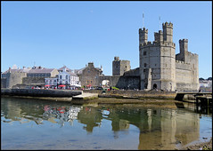 Caernarfon Castle. (Country Girl 76) Tags: castle north wales reflections sky water sea history people cafe waterfront towers caernarfon king edward first 1283